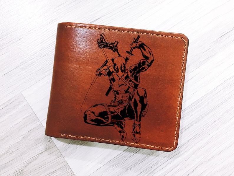 Deadpool Walletleather Handmade Men Wallet Personalized Men Etsy
