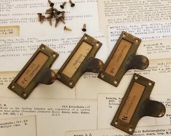 Vintage Solid Brass Card Catalog Drawer Finger Pull Screws Hardware Handle Library