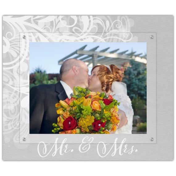 Mr And Mrs Flourish Wedding Picture Frame 11x14 Landscape Etsy