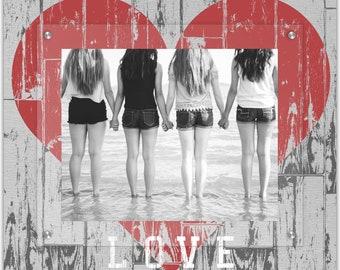 I Love Us Rustic Heart Wall Art - 8x10 Landscape Photo Frame  - Floating Photo Frames