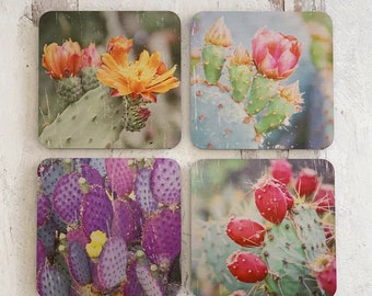 Prickly Pear Cactus Photography Coasters - The Modern Angle - Set of Coasters