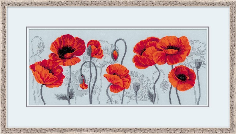 Premium Cross Stitch Kit by Riolis 100037 Scarlet Poppies