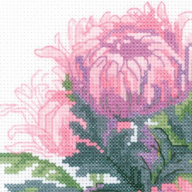Flower Cross Stitch Kit by Riolis 1595 Bouquet of Chrysanthemums