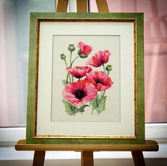 Pink Poppies Cross Stitch Kit by Riolis 1775