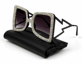 b4a1b34ef2584 Oversize Sunglasses Women Big Wide Temple Bling Stones 2019 Fashion Shades  UV400 Vintage Brand Glasses