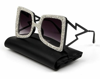 d6fa4733383 Oversize Sunglasses Women Big Wide Temple Bling Stones 2019 Fashion Shades  UV400 Vintage Brand Glasses