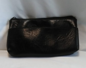 Vintage 1990's Estee Lauder Strapless Clutch / Small Purse / Cosmetic Bag, Black Faux Leather