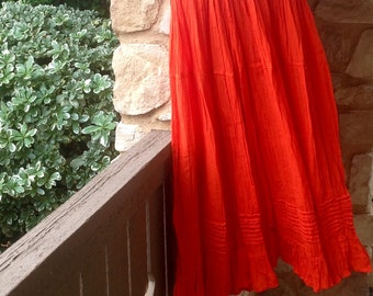 f0674a97ce Mexican Skirt- Handmade Skirt- Boho Skirt- Hippie Skirt- Frida Kahlo Style  Skirt- Long Skirt- Mexican peasant cotton skirt