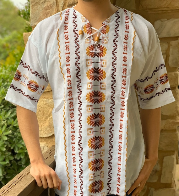Mexican Embroidered Shirt Mexican Embroidered Men Guayabera Boho Hippie Men