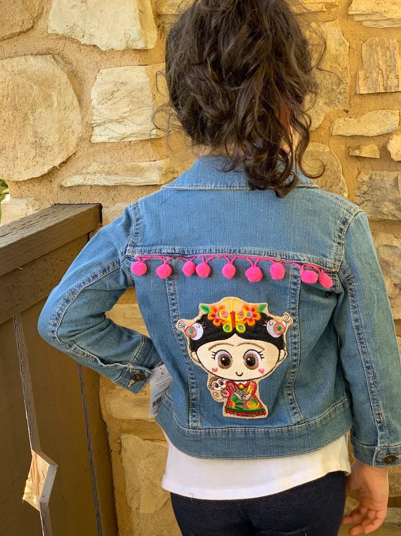 Fridita Girls Embellished Denim Jacket-Cute kids/' jean jacket