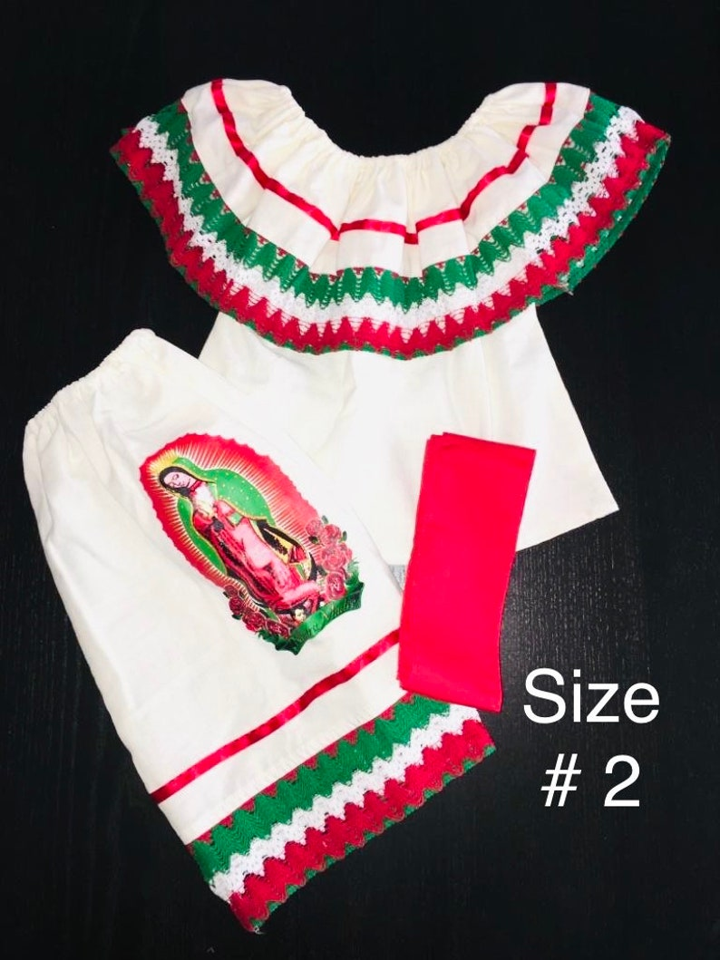 Virgen Maria Set-Virgin Mary Set-Mexican Girls Dress-Girls Skirt,Blouse,Rebozo-Girls Outfit Virgin guadalupe Virgen Guadalupe Mexican Set