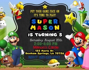 Super Mario Birthday Invitation (Digital File)
