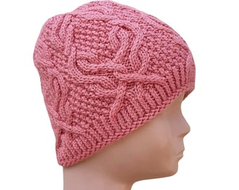 Girls Hat Beanies Dusty Rose Hat Photo Prop Baby Hat Newborn Props Spring Props Crocheted Hat Rouge Hat with Flower Skull Cap