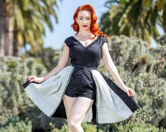 c2b3a4c3c Vintage Inspired, Black and White, Lucille PlaySuit with Detachable  Overskirt