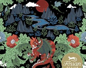 Dragons fairytale fabric Stretch Fairytale knit fabric Fabric stretch fabric Grey Dragon Cotton Lycra Knit