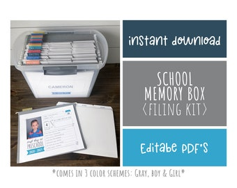 School Memory Box Kit Bundle, First Day of School Interview, School File Organization Kit, Home Filing System, INSTANT DIGITAL DOWNLOAD