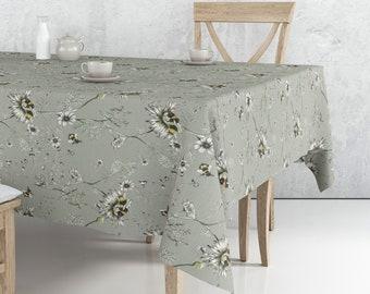 Mantel rectangular Margaritas casi gris / Grey daisies flowers Rectangular Tablecloth