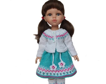 Paola Reina outfit, Knitted doll jacket, dress and gaiters, Paola Reina dress, Paola Reina clothes, 13 inch doll clothes, Paola Reina knit