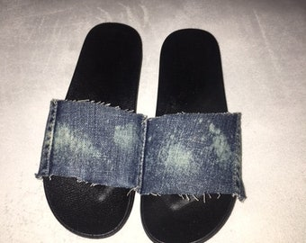 Premium Denim Slides