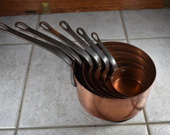 French vintage copper pans