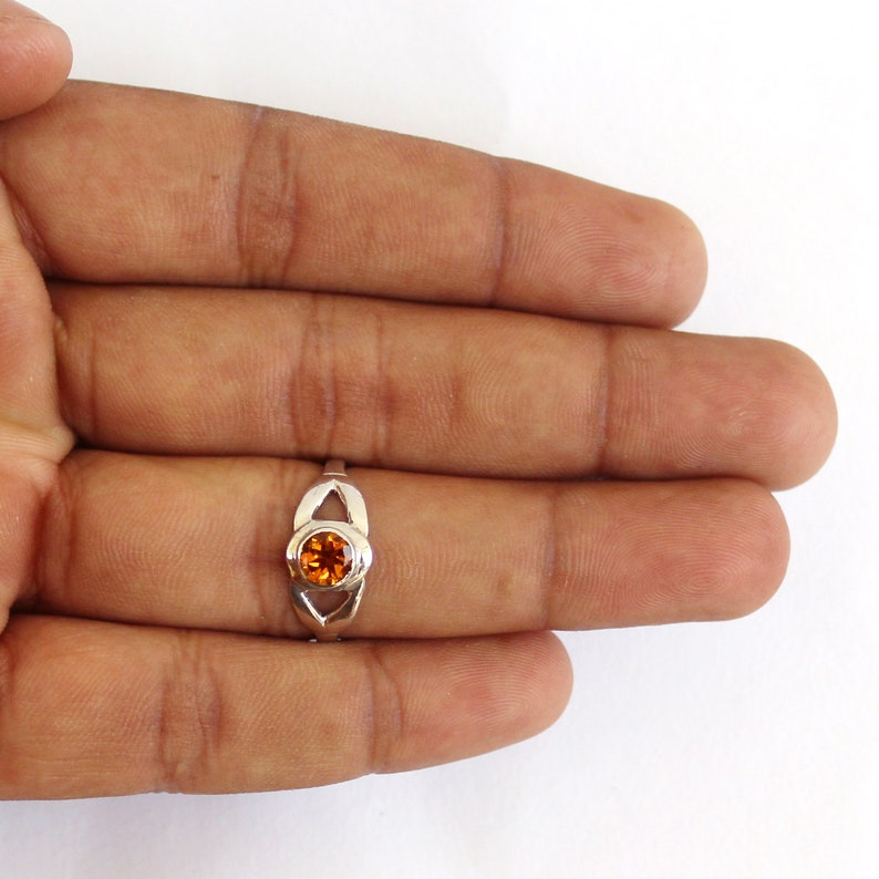 Hand Made Ring Citrine Gem Stone Ring Rhodium Polished,Sterling Silver 92.5/% Ring.