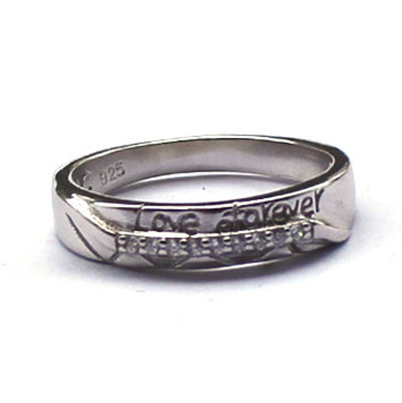 Engagement Band Sterling Silver 925 Band Anniversary Band. 4 mm Love Band Couple/'s Band Promise Band Forever Band