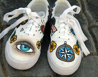 f72d4720b48671 Custom shoes - traditional tattoo flash hand painted vans