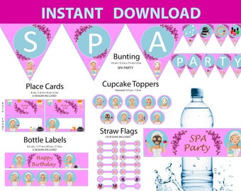 SPA Party supplies - Food tents, Cupcake toppers, Bunting, Straw flags & bottle labels. SPA Printable Decor Pack. SPA Birthday Decorations