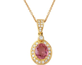 0.91ct Pink Sapphire set in 14k Yellow Gold Pendant with Diamonds
