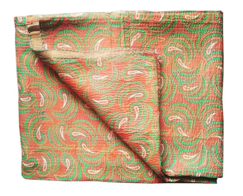 Handmade Vintage Handblock Printed Floral Printed Kantha Quilt Queen Size Gudri 90X108