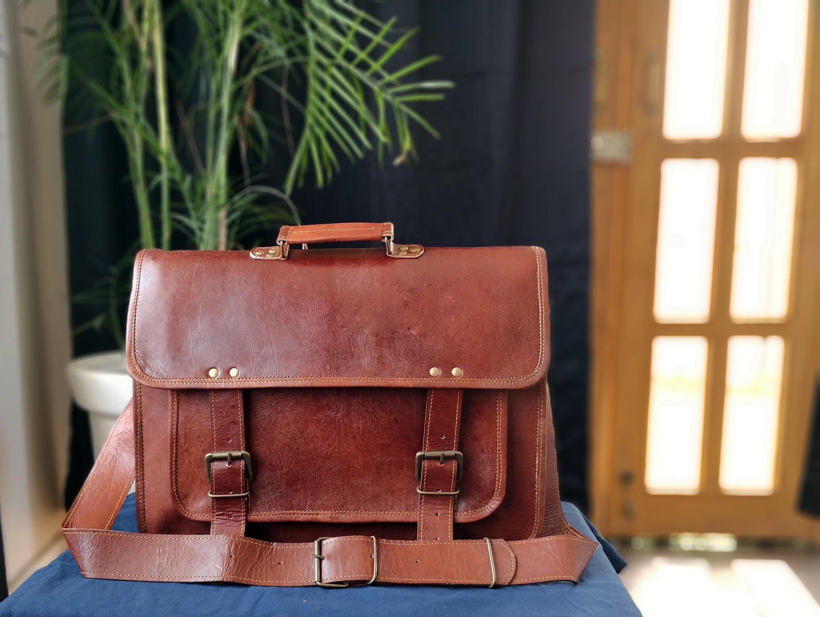 Office Briefcase 18 Vintage Leather Messenger Crossbody Laptop Bag Best Mothers Father Day Gift Rustic Bag Travel Shoulder Handbag