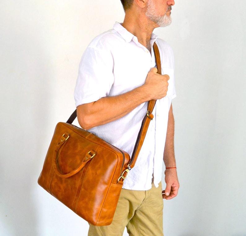 Personalized Genuine leather messenger bag laptop bag shoulder bag for women gift for men office bag work briefcase rustic bag Large Satchel