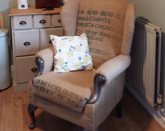 Upcycled Winged Armchair Burlap / Coffee sack