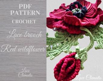 Crochet poppy flower pattern. Crochet red wildflower pattern. Crochet blossom tutorial. Crochet instruction big flowers PDF.