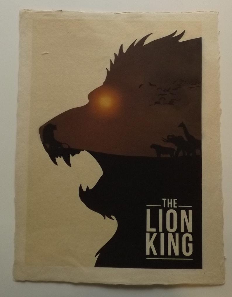 The Lion King Silhouette Handmade Artisan Vietnamese A3 Etsy