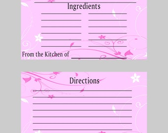 Bridal Shower/Recipe Card/Food Recipe/Shower Recipe Card/Gift/Bridesmaid Gift/Recipe Printables/Meal Planner/Planner/Wedding/Recipe Cards