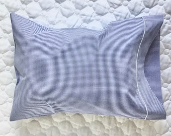 Pillowcase   Nautical-Blue Gingham   Boy   Baby-Child-Travel Size   Fits 12x16 Pillow   Heirloom Cotton Fabric   Ships Free   Ready to Ship