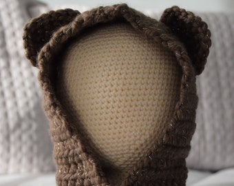 Bear Hooded Cowl - Crochet - Handmade