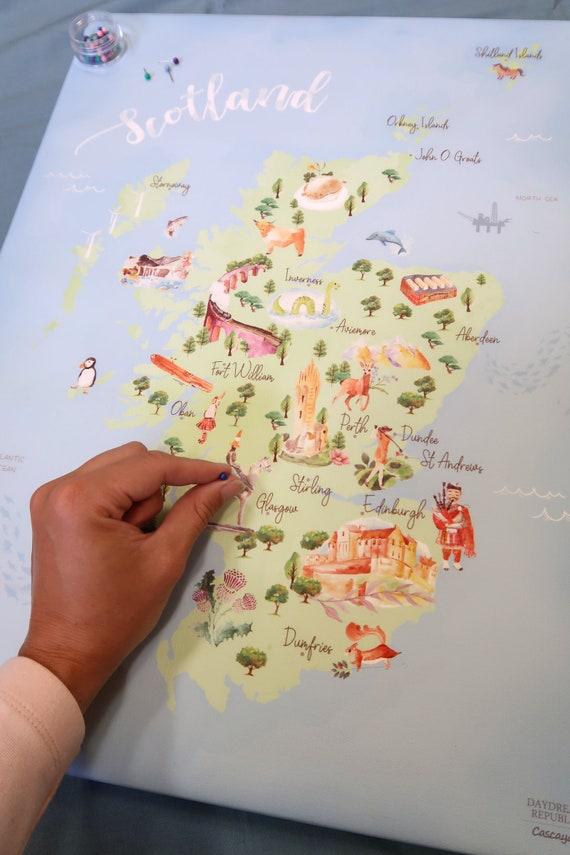 Scotland Push Pin Map- Personalised Scotland Map Landmarks Illustrated Map  Scottish Gifts Map of Scotland Scottish Wedding Gift Travel Gift
