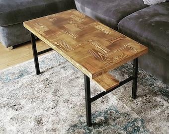 Handmade Herringbone Top Coffee Table