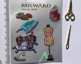 Millward iron on sewing motifs and scissor and needle button embellishments