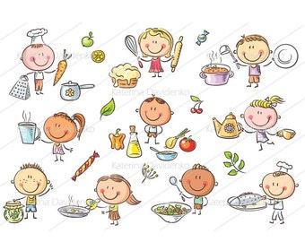Lustige Skizzenhaft Kinder Mit Obst Und Gemüse Wird Etsy