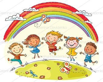 101021ea5 Happy kids clipart set, vector illustrations, kids art, svg and png files,  kids svg, image svg, clipart commercial use