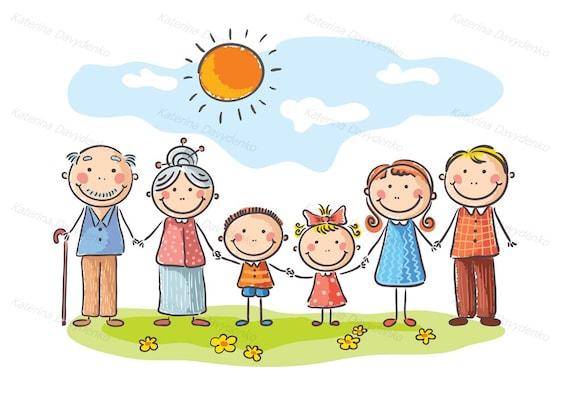 Famille Heureuse Avec Deux Enfants Et Grands Parents Clipart Etsy