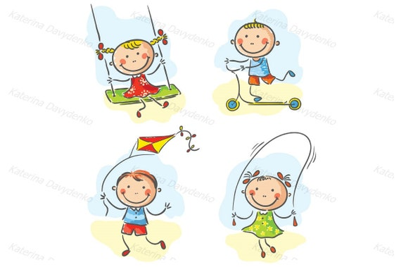 Kids Outdoor Games And Activities Child Kids Clipart Kids Etsy