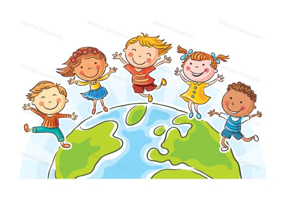 Happy jumping kids round the globe. Kids clipart set Children | Etsy