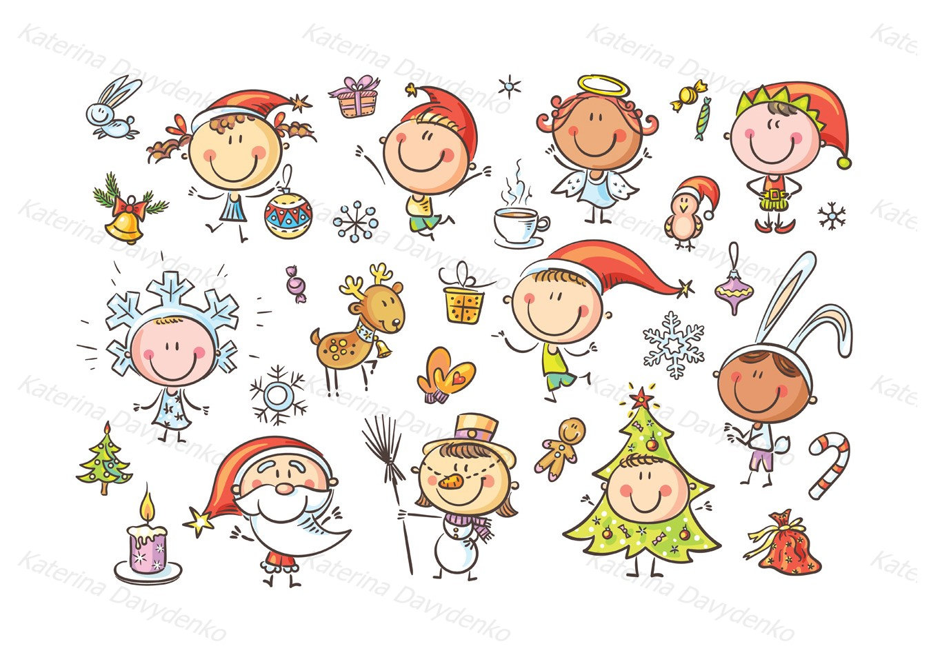 Christmas Kids. Christmas clipart clipart children doodle | Etsy