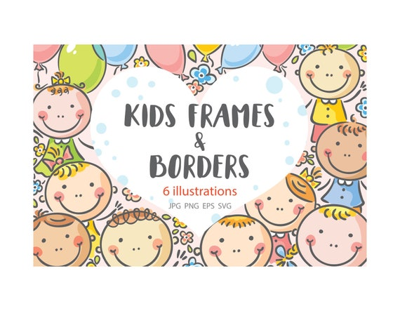 Several illustrations with happy kids: frames borders | Etsy