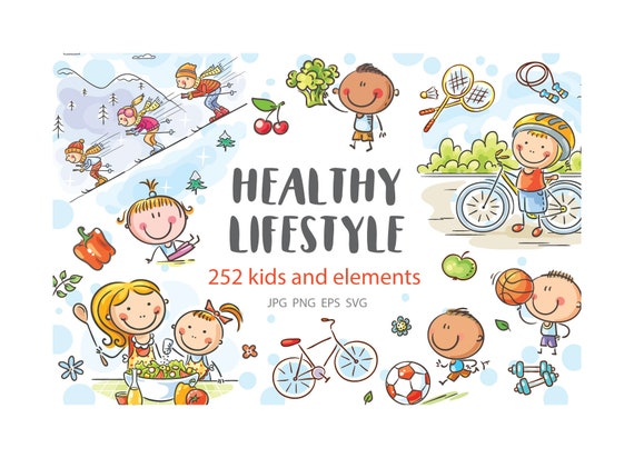 Clipart Happy Kids And Families Doing Sports And Eating Etsy