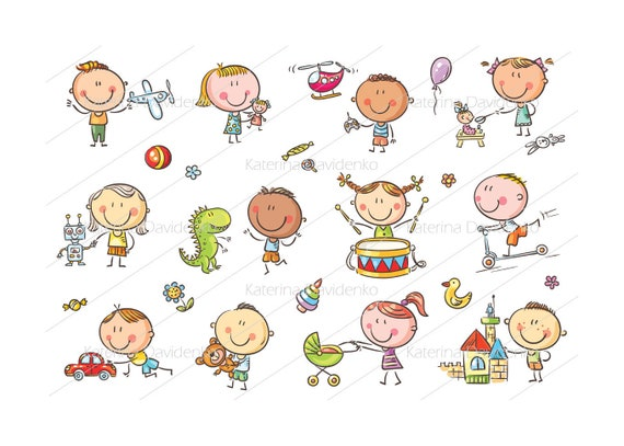 Kids Playing Toys Kids Toys Set Kids Toys Clipart Kids Toys Etsy